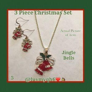 3 Piece Jewelry Set Christmas Bells